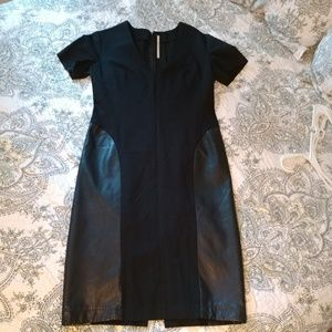 *TOP SHOP BOUTIQUE* Black cotton dress w/ leather